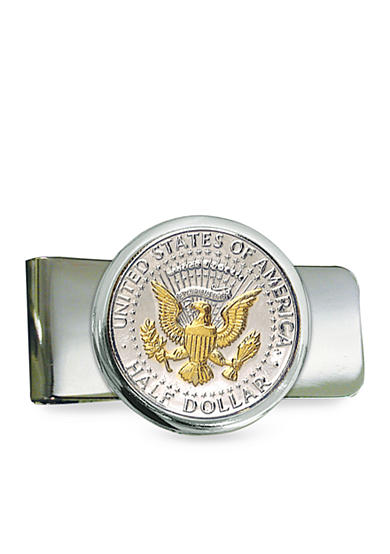 American Coin Treasures Silver Tone Presidential Seal Selectively Gold Layered Money Clip