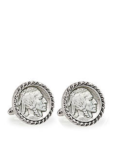 American Coin Treasures First Year of Issue Buffalo Nickel Silver Tone Rope Bezel Cufflinks