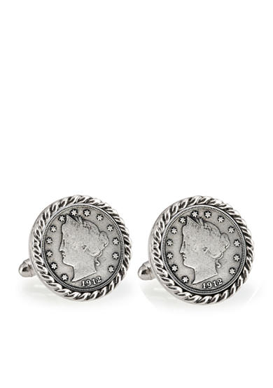 American Coin Treasures Liberty Nickel Silver Tone Rope Bezel Cufflinks