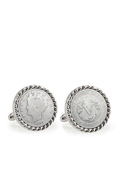 American Coin Treasures 1800's Liberty Nickel Silver-Tone Rope Bezel Cufflinks