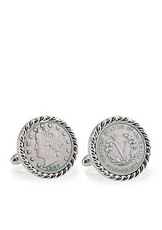 American Coin Treasures 1883 First Year of Issue Liberty Nickel Silver Tone Rope Bezel Cufflinks
