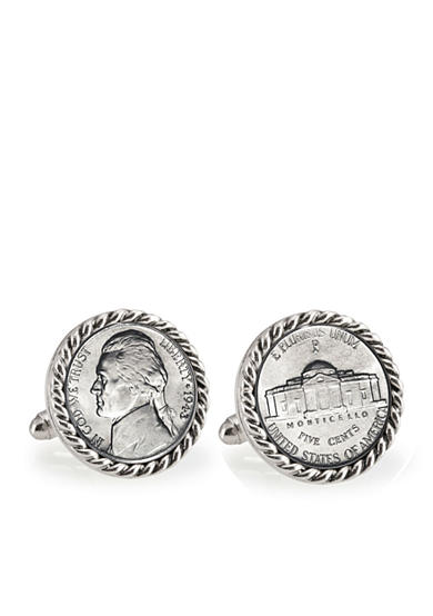 American Coin Treasures Silver Jefferson Nickel Wartime Nickel Silver Tone Rope Bezel Cufflinks