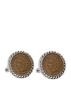 American Coin Treasures Indian Head Penny Silver-Tone Rope Bezel Cufflinks