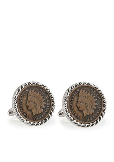 American Coin Treasures 1800's Indian Head Penny Silver-Tone Rope Bezel Cufflinks