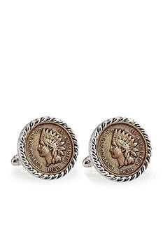 American Coin Treasures 1859 First Year of Issue Indian Head Penny Silver-Tone Rope Bezel Cufflinks