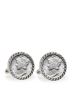 American Coin Treasures Silver Mercury Dime Silver Tone Rope Bezel Cufflinks