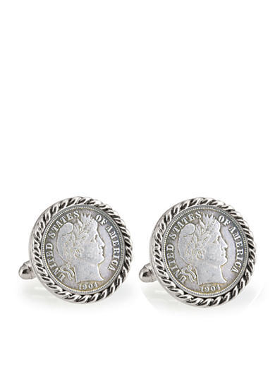 American Coin Treasures Silver Barber Dime Silver Tone Rope Bezel Cufflinks
