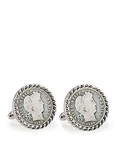 American Coin Treasures 1800's Silver Barber Dime Silver Tone Rope Bezel Cufflinks