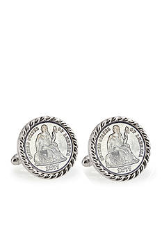 American Coin Treasures Seated Liberty Silver Dime Silver Tone Rope Bezel Cufflinks
