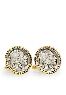 American Coin Treasures 1913 First Year of Issue Buffalo Nickel Gold Tone Rope Bezel Cufflinks