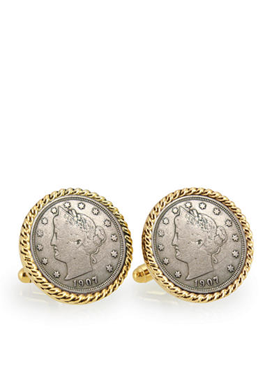 American Coin Treasures Liberty Nickel Gold-Tone Rope Bezel Cufflinks