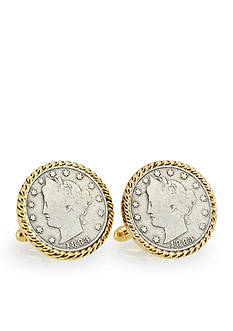American Coin Treasures 1883 First Year of Issue Liberty Nickel Gold Tone Rope Bezel Cufflinks