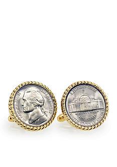 American Coin Treasures Silver Jefferson Nickel Wartime Nickel Gold Tone Rope Bezel Cufflinks