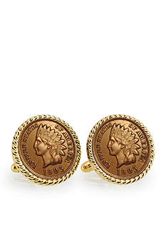 American Coin Treasures Indian Head Penny Gold Tone Rope Bezel Cufflinks