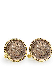 American Coin Treasures 1800's Indian Head Penny Gold Tone Rope Bezel Cufflinks
