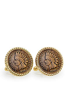 American Coin Treasures 1859 First Year of Issue Indian Head Penny Gold-Tone Rope Bezel Cufflinks
