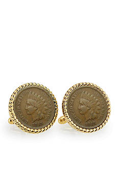 American Coin Treasures Civil War Indian Head Penny Gold Tone Rope Bezel Cufflinks