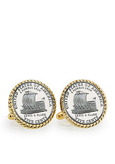American Coin Treasures 2004 Keelboat Gold Tone Rope Bezel Cufflinks