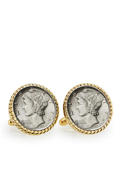 American Coin Treasures Silver Mercury Dime Gold Tone Rope Bezel Cufflinks