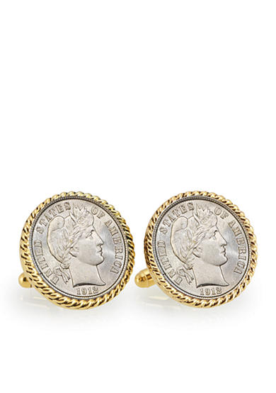 American Coin Treasures Silver Barber Dime Gold Tone Bezel Cufflinks
