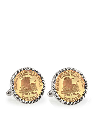 American Coin Treasures Gold Layered 2004 Keelboat Silver-Tone Rope Bezel Cufflinks