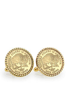 American Coin Treasures Gold Layered 2005 Bison Nickel Gold Tone Rope Bezel Cufflinks