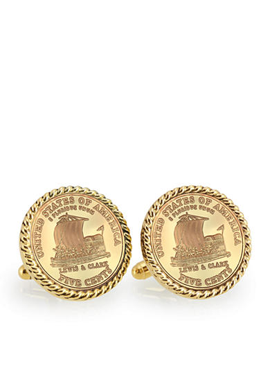 American Coin Treasures Gold-Layered 2004 Keelboat Gold-Tone Rope Bezel Cufflinks