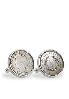 American Coin Treasures 1883 First Year of Issue Liberty Nickel Sterling Silver Cufflinks