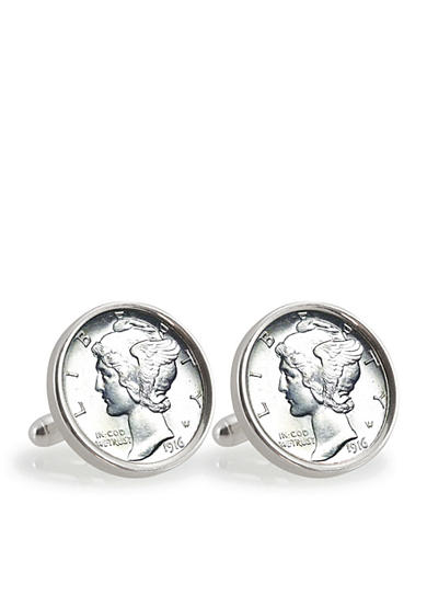 American Coin Treasures Silver Mercury Dime Sterling Silver Cufflinks