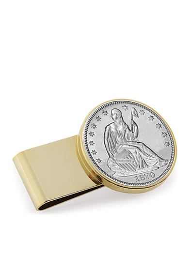 American Coin Treasures Silver Seated Liberty Half Dollar Stainless Steel Gold-Tone Money Clip