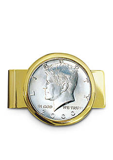 American Coin Treasures JFK Half Dollar Gold Tone Money Clip