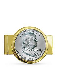 American Coin Treasures Franklin Silver Half Dollar Gold Tone Money Clip