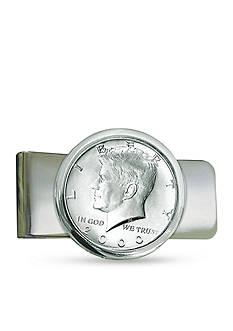 American Coin Treasures Silver Tone JFK Half Dollar Money Clip