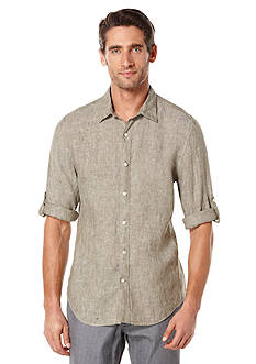 Perry Ellis® Big & Tall Long Sleeve Solid Linen Shirt
