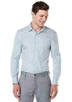 Perry Ellis Long Sleeve Mini Floral Print Woven Shirt