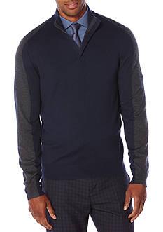 Perry Ellis Long Sleeve Color Block Quarter Zip Sweater