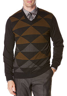 Perry Ellis Long Sleeve Diamond Color Block V-Neck Sweater