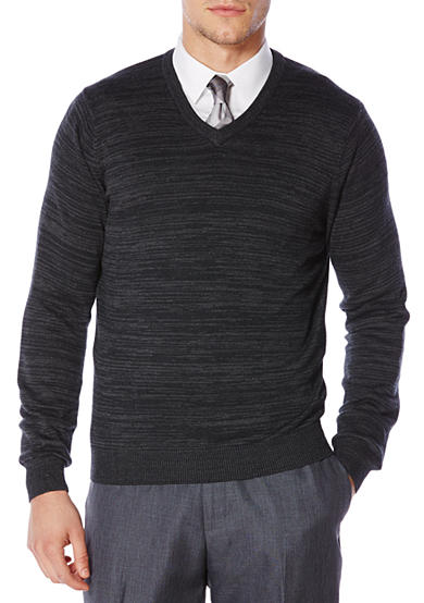 Perry Ellis® Long Sleeve Stripe V-Neck Sweater