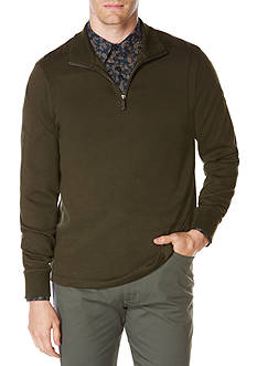 Perry Ellis® Long Sleeve Ottoman Quarter Zip Pullover