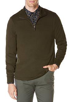 Perry Ellis Long Sleeve Ottoman Quarter Zip Pullover