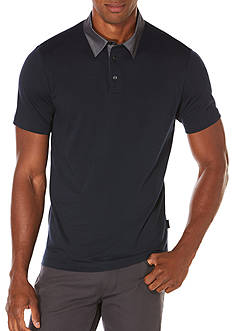 Perry Ellis Short Sleeve Pima Chambray Polo Shirt