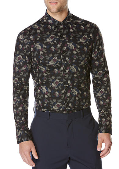 Perry Ellis® Long Sleeve Slim Fit Camouflage Shirt