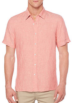 Perry Ellis Short Sleeve Solid Chambray Linen Shirt