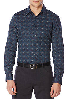 Perry Ellis Long Sleeve Etched Paisley Shirt