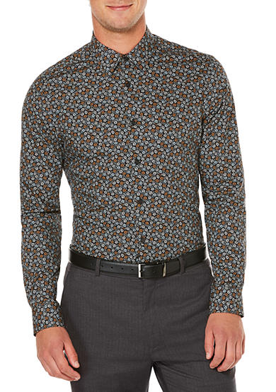 Perry Ellis® Long Sleeve Stormy Floral Print Shirt