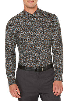 Perry Ellis Long Sleeve Stormy Floral Print Shirt