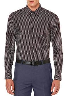 Perry Ellis Long Sleeve Micro Geo Floral Print Shirt