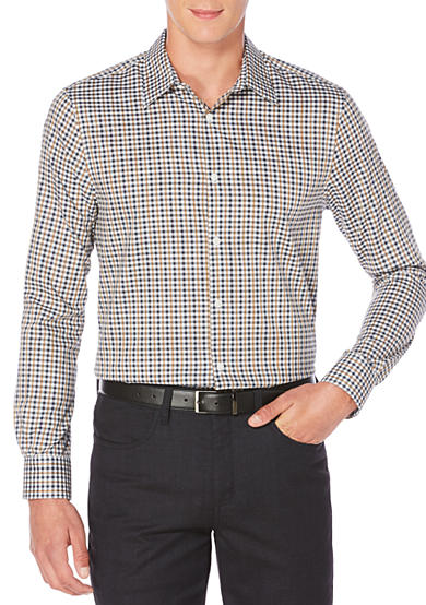 Perry Ellis® Long Sleeve Checkered Dobby Shirt