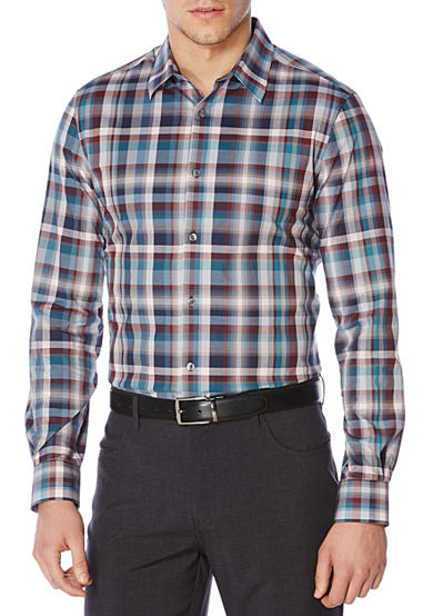 Perry Ellis® Long Sleeve Exploded Plaid Shirt