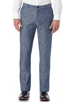 Perry Ellis® Slim Fit Chambray Flat Front Pants